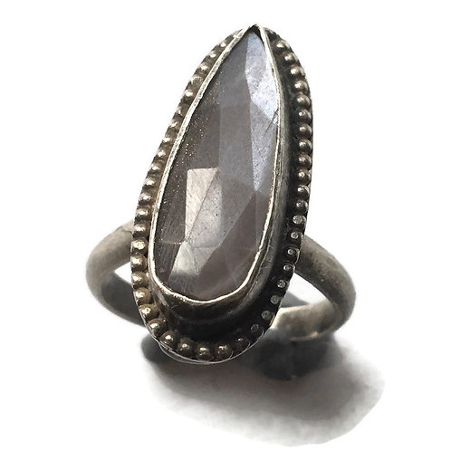 Silver ghost moonstone hollow form ring