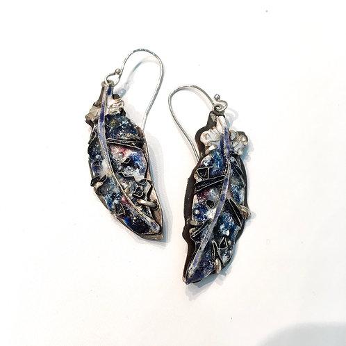 Dark feather earrings