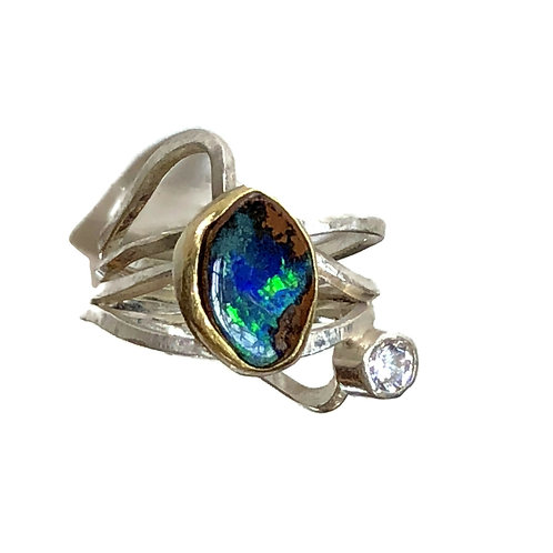 Ring with koroit opal and CZ in 18k gold and sterling