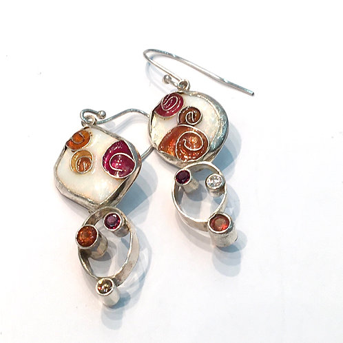 Cloisonné drop earrings with garnets and CZs