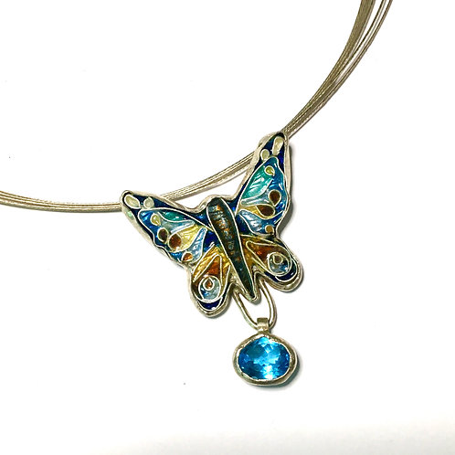 Cloisonne Necklace Butterfly with Blue Topaz