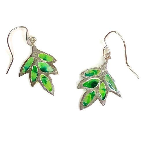 Plique a jour green leaf earrings