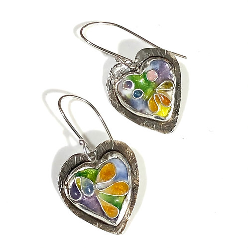 Psychedelic heart earrings with faceted cubic zirconia earrings