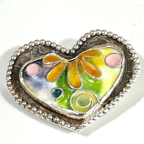 Psychedelic heart pin/pendant
