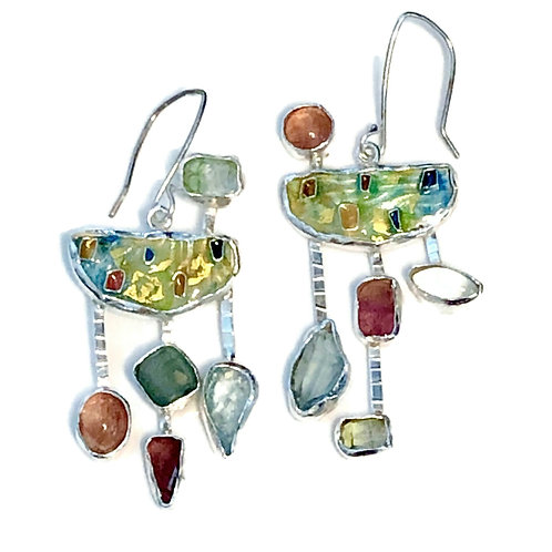 Cloisonné earrings with mixed gemstones