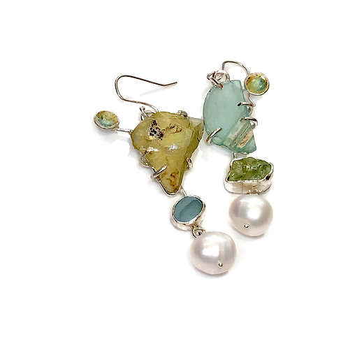 Asymmetrical earrings with Roman glass and mixed gemstones