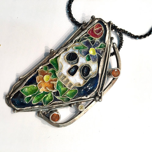 Sugar skull necklace with diamond and Hess garnets