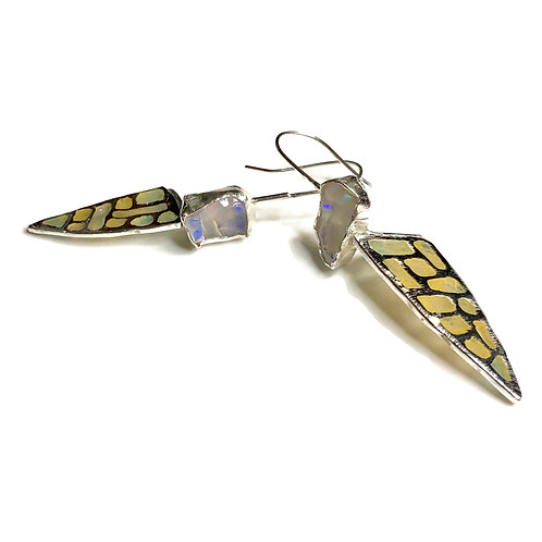 Plique a jour wing earrings with rough Ethiopian opals