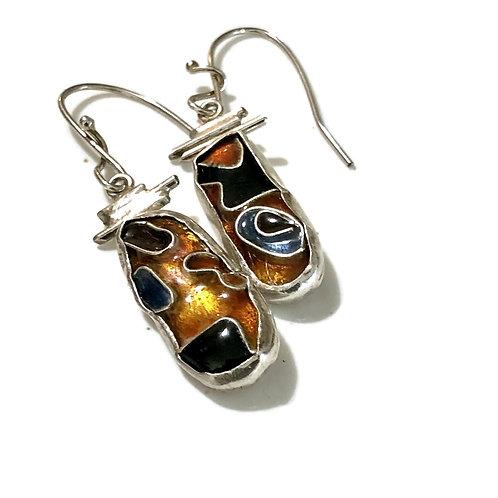 Asymmetrical cloisonné earrings