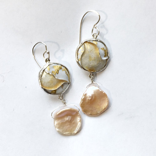 Cloisonné earrings with keshi pearls
