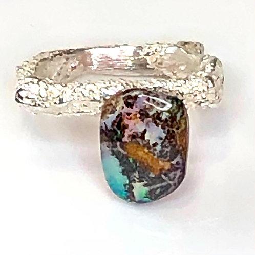 Custom boulder opal ring