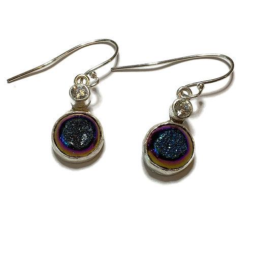 Titanium druzy drop earrings with CZs