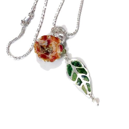 Plique' a jour leaf and enamel flower necklace