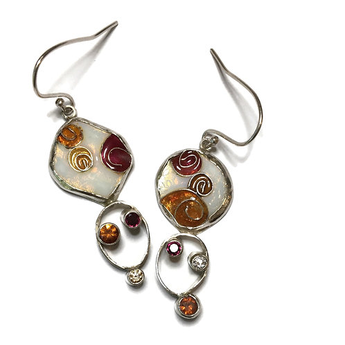 Cloisonné nebulae drop earrings with garnets and CZs