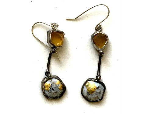 Drop earrings with citrine, graphie and gold in sterling silver