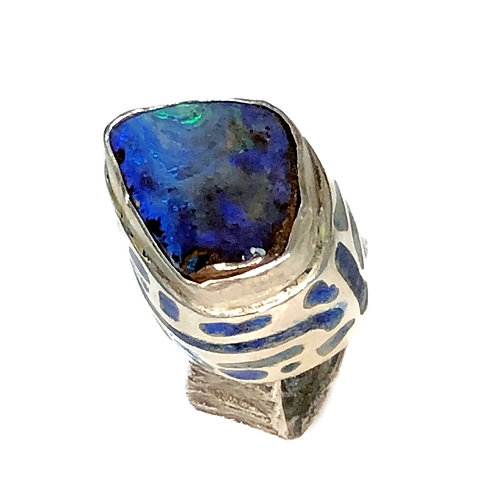 Statement Ring with koroit opal on plique' a jour box setting