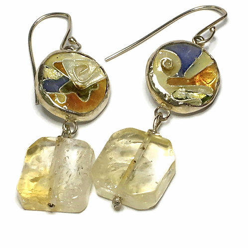 Cloisonné earrings with citrine cubes
