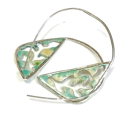 Enameled hoop earrings with cut out leaves