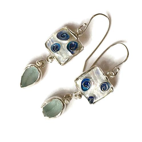 Cloisonné earrings with blue topaz