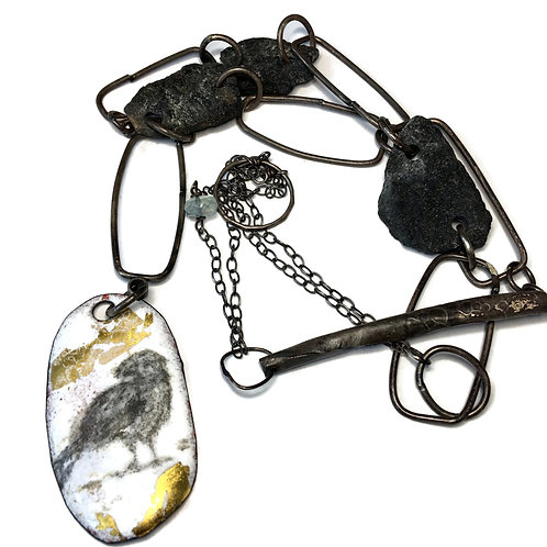 """Reversible necklace in graphite and gold """"Witchy Vibes"""""""