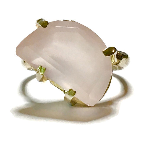 Asymmetrical Statement ring with Large Prong Rose  Quartz