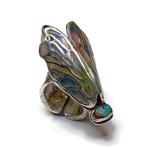 Cicada Statement Ring  with boulder opals
