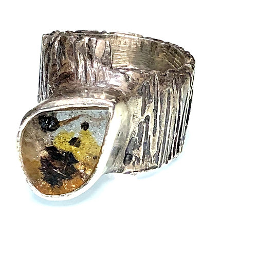Statement ring with large hematiod