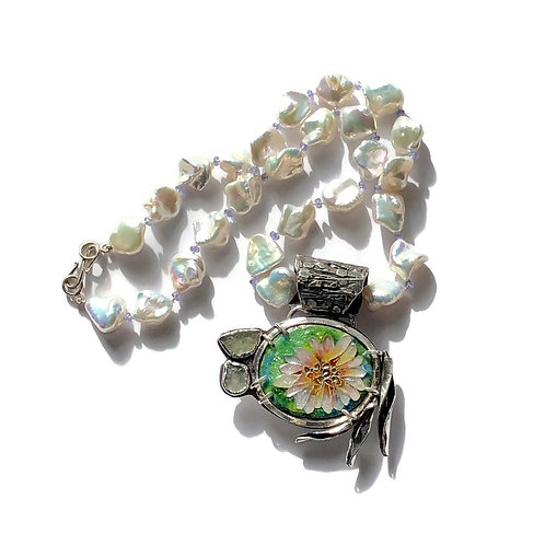 Cloisonné lotus pin/pendant with baroque pearls