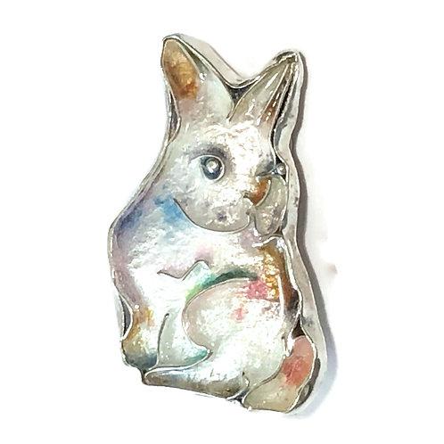 Cloisonné pin/pendant of pastel bunny