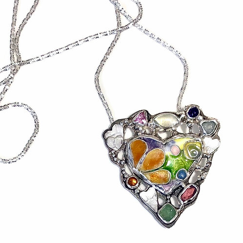 Psychedelic heart pin/pendant with gemstones