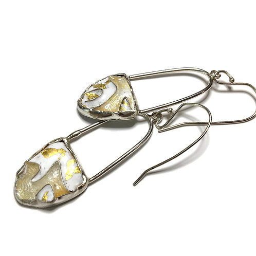White and gold cloisonné drop earrings with texture