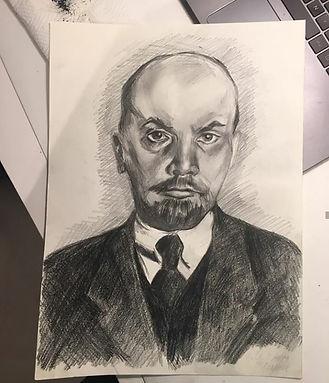 elena-gontcharova-pencil-portrait-lenin.