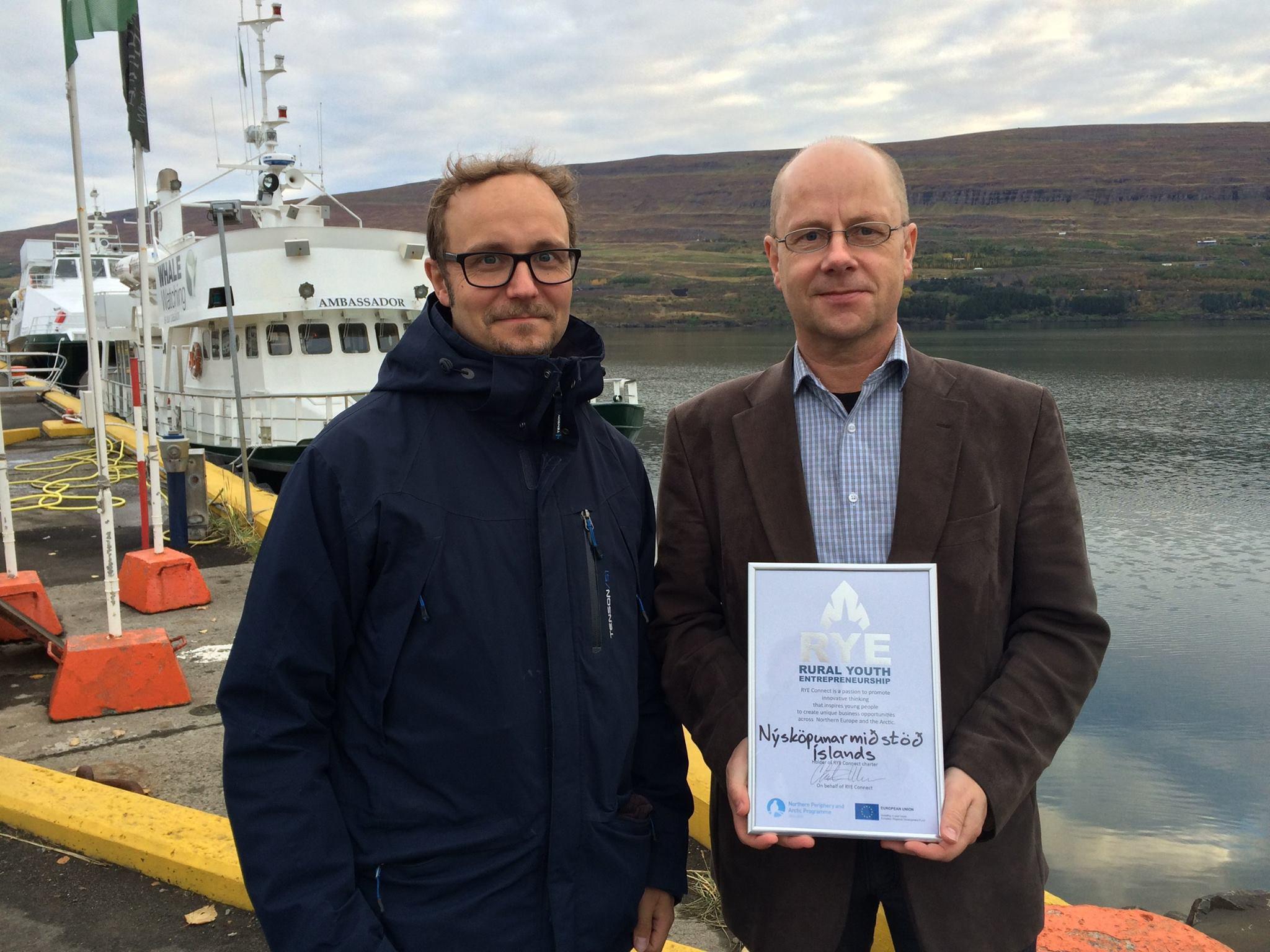 Delivering RYE Charter to Eyjolfur Eyjolfsson from Innovation Center Iceland