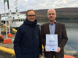 Delivering RYE Charter to Eyjolfur Eyjolfsson from Innovation Center Iceland