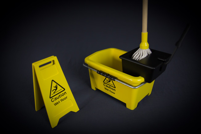Miniature wet floor sign