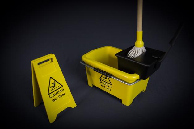 Miniature wet floor sign