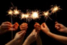 Wunderkerzen Feier zusammen
