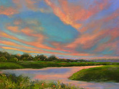 Florida landscape artist, florida painter, florida artist, florida landscape painter, oil painting of florida, florida sky painting, florida sunset painting