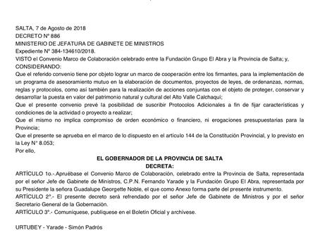 Convenio Marco para el Desarrollo Territorial del Alto Valle Calchaquí
