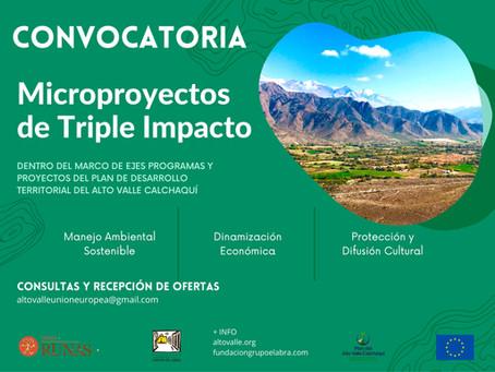 Convocatoria para Microproyectos de Triple Impacto