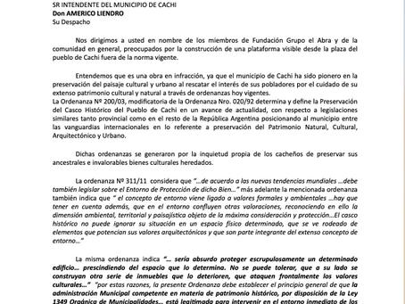 Nuestro pedido a la Municipalidad de Cachi