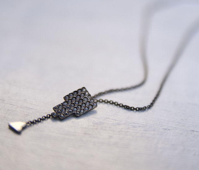 Fatima Silver Necklace in Black