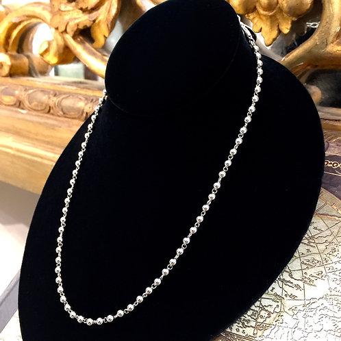 3mm Beads Necklace (Rhodium)