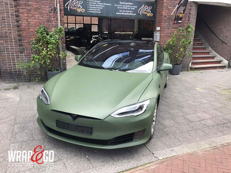Tesla Model S 3M Army Green Car Wrap