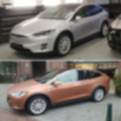 Carwrap Tesla Model X Avery Matte Brown Before After