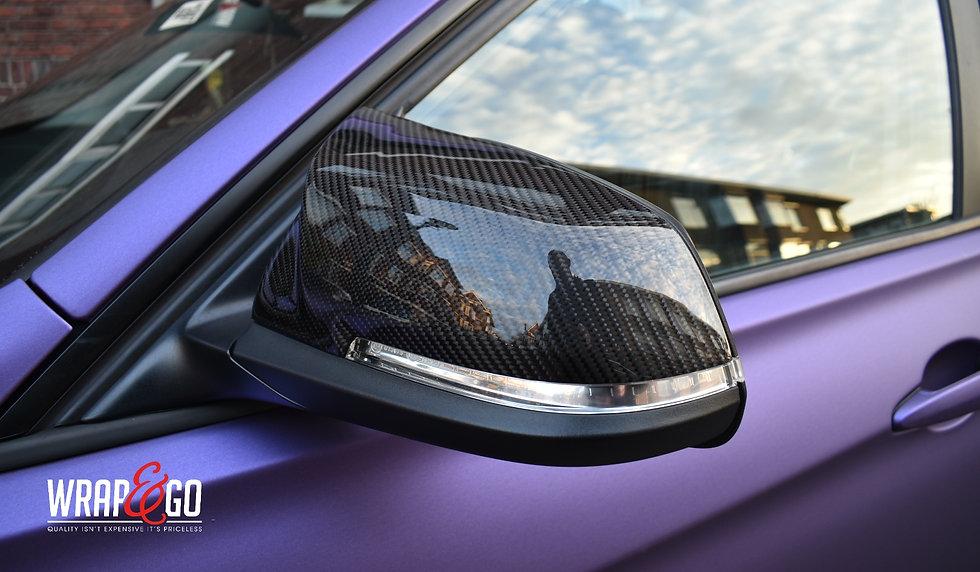 BMW Matte Purple Car Wrap Carbon Mirror