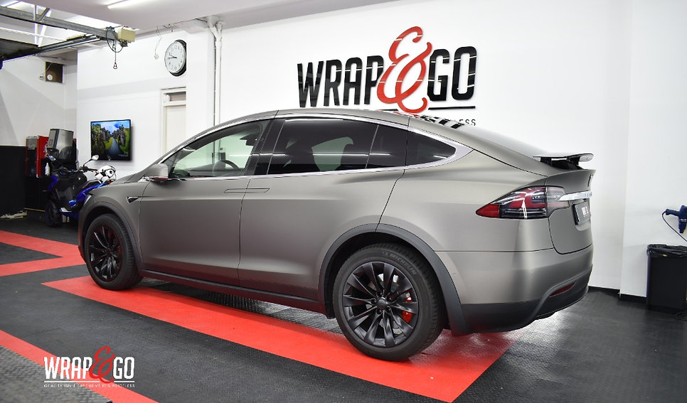 Tesla Model X 3M Matte Charcoal Carwrap Rear Side