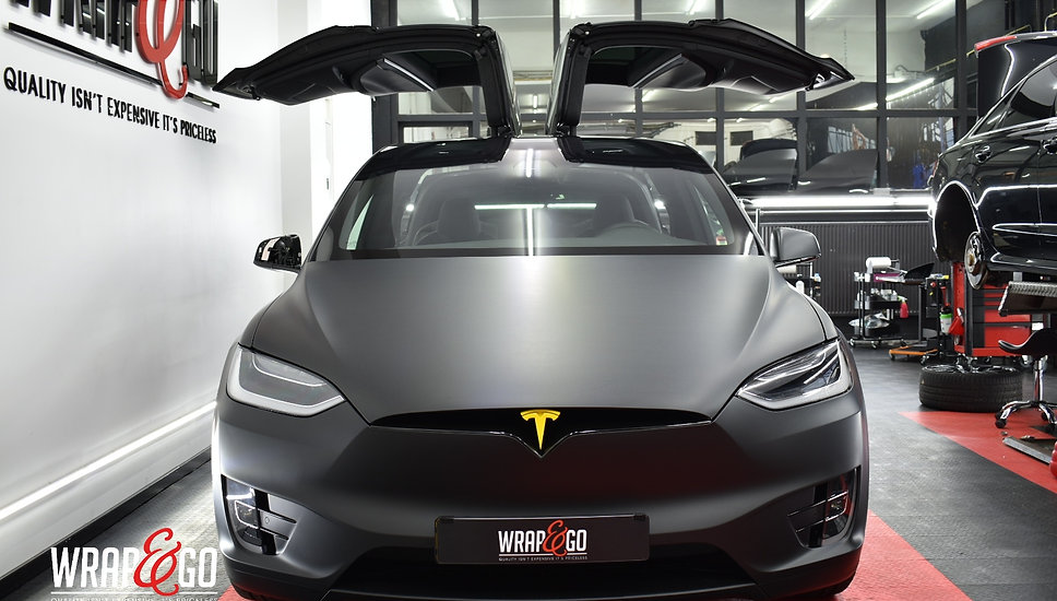 Tesla Model X Matte Black Wrap Auto