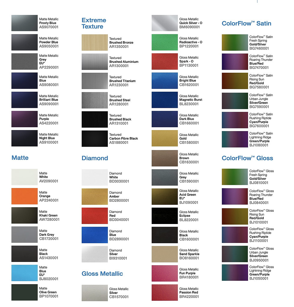 Avery car wrap kleuren