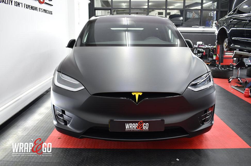 Tesla Model X 3M Matte Deep Black Wrap Front